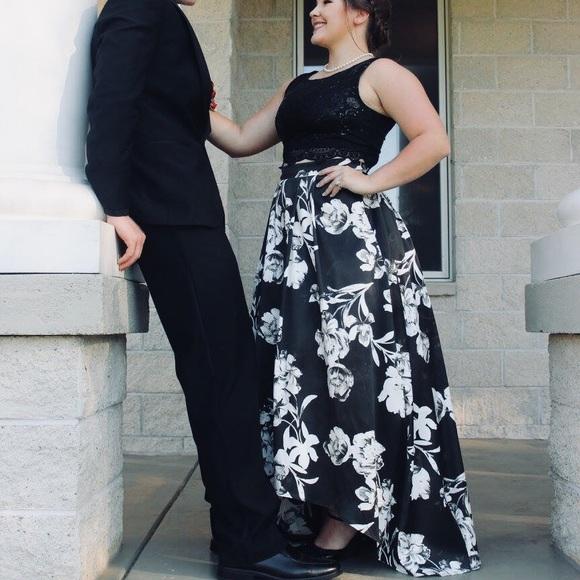 Jodi Kristopher Dresses Black And White Floral 2piece Prom Dress